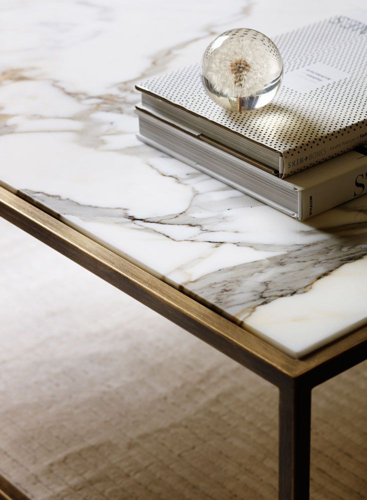 Our Siena coffee table finished in Florentine Gold, with a Calacatta Oro marble top.  See more at www.tomfaulkner.co.uk