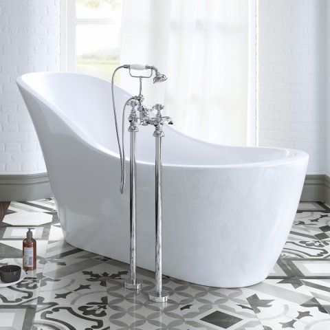 Freestanding Traditional Victoria Stand Pipe Bath Shower Taps - soak.com