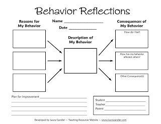 Tween Teaching: Behavior Reflections Sheet