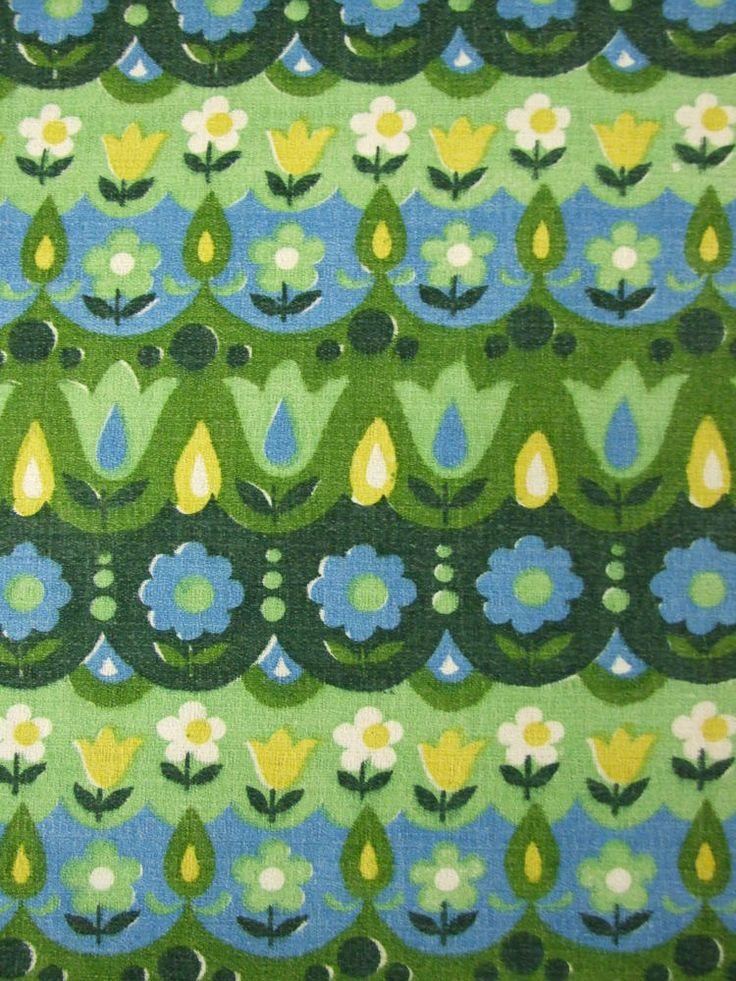 Lovely 60s Floral Barkcloth - available by the fat quarter from Rainbow Vintage Home online shop