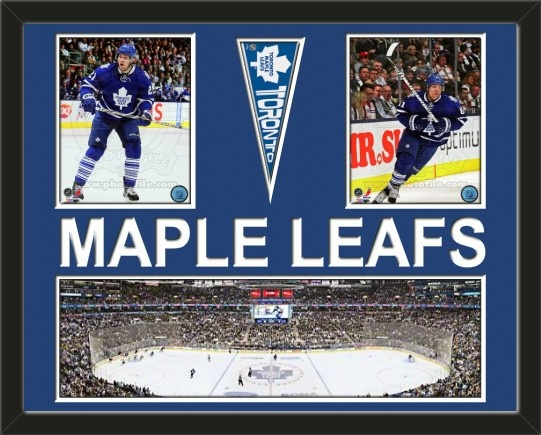 Two framed 8 x 10 inch Toronto Maple Leafs photos of your choice with a Toronto Maple Leafs mini pennant and small stadium panoramic, double matted in team colors to 28 x 22 inches.  MAPLE LEAFS* is cut into the top mat and shows the bottom mat color.  (Pennant design subject to change) $159.99      @ ArtandMore.com