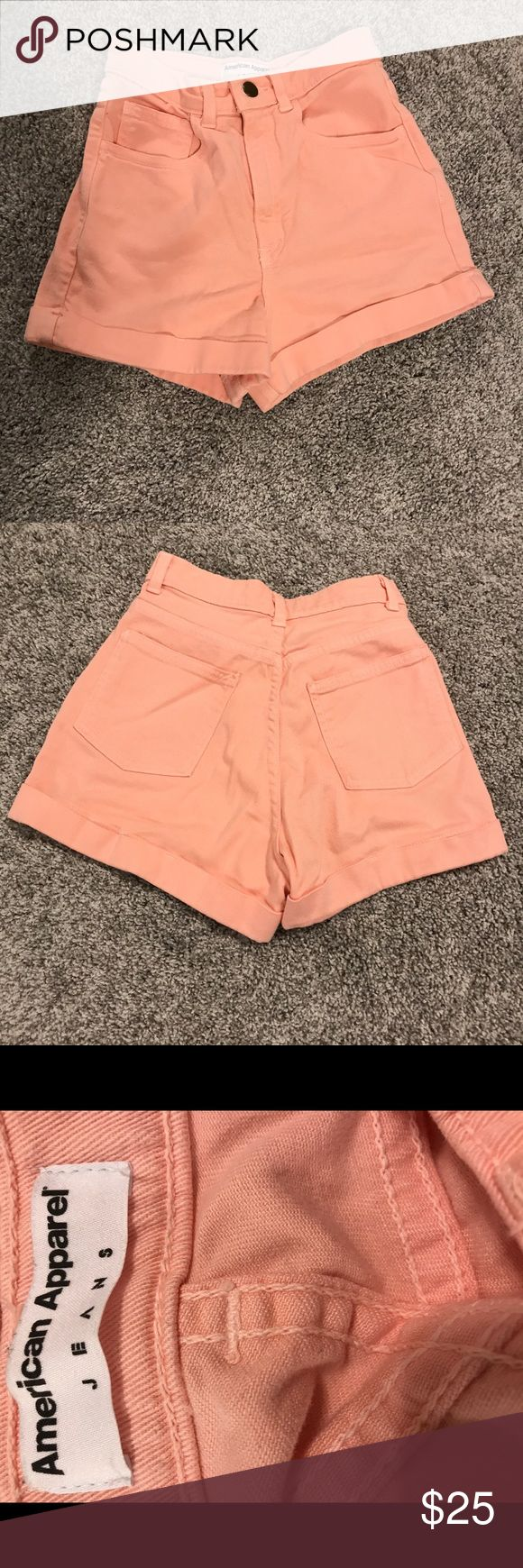 American Apparel High Waisted Coral Shorts 26/27 American Apparel High Waisted Coral Shorts. Size 26/27. Perfect shorts but I already have their high waisted shorts in a good 7 other colors. Never worn. American Apparel Shorts Jean Shorts