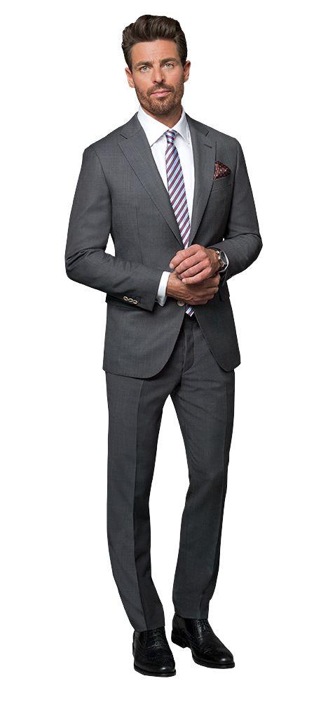 Dolzer Maßkonfektion Herren anthrazitfarbener Anzug Birdseye