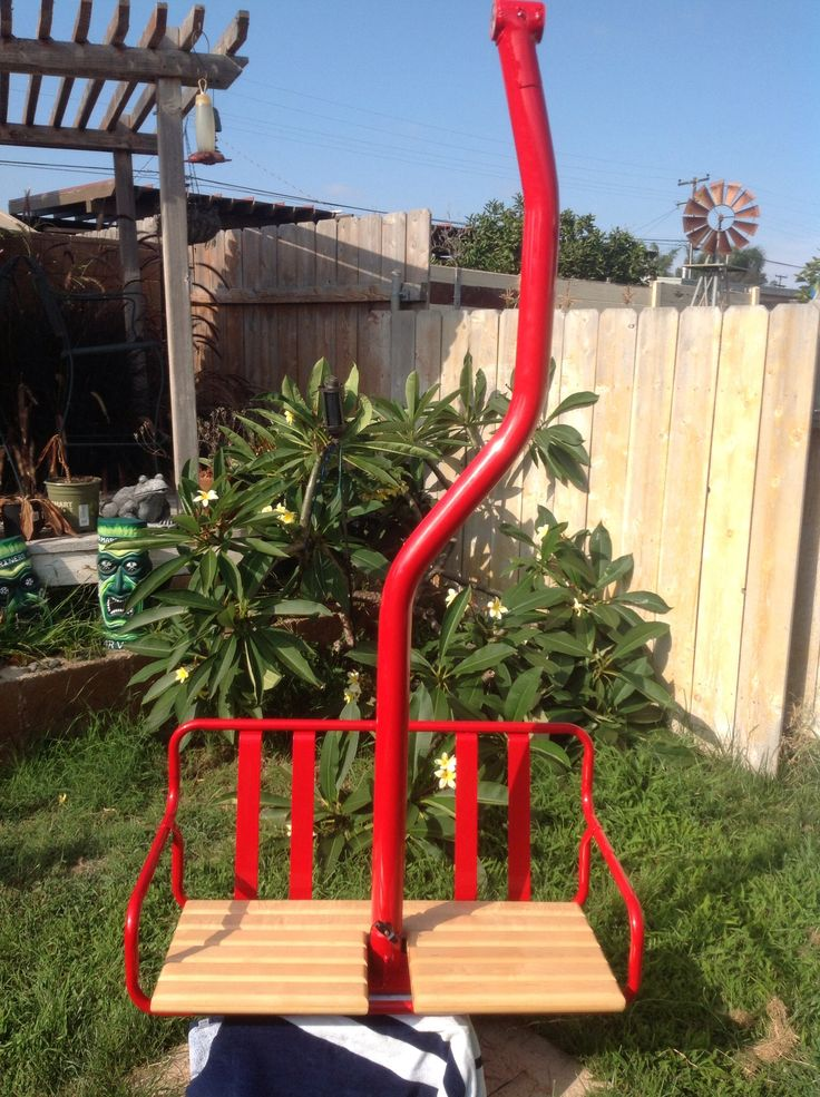restored ski lift chair in red baron with maple seat bottom 1200 plus