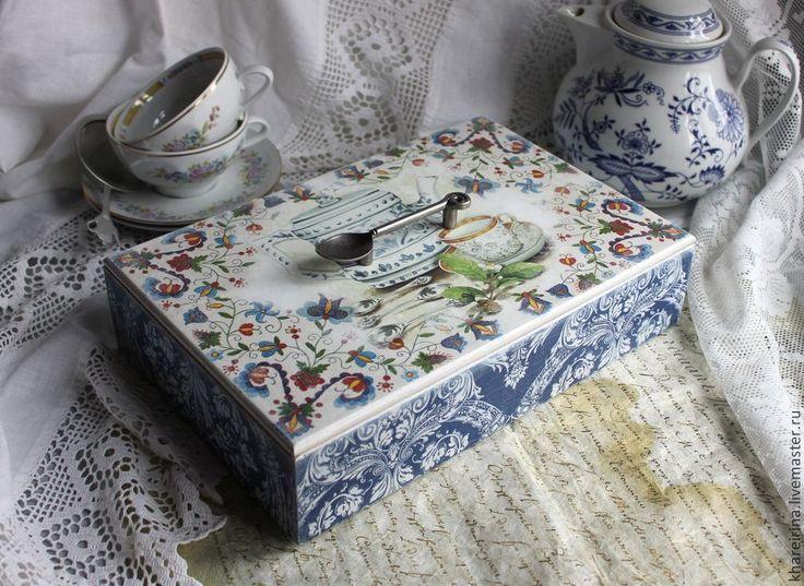 Купить Кухонный короб - синий, короб для хранения, для чайных пакетиков, гжель, кухонный интерьер, Декупаж