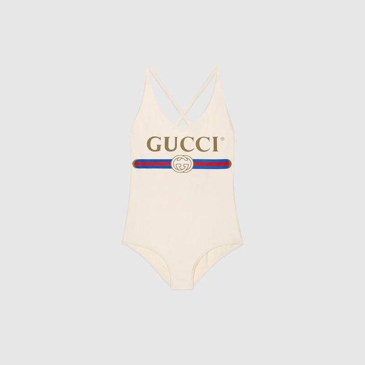 Maillot de bain brillant avec logo Gucci
