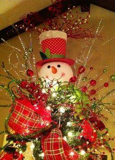 2013 Christmas Tree Topper, Cute Christmas Tree Topper for 2013, Snowman Christmas Tree Topper