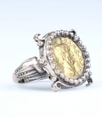 925 Ayar Gümüş Çengel Desenli Bizans Sikkesi Yüzük