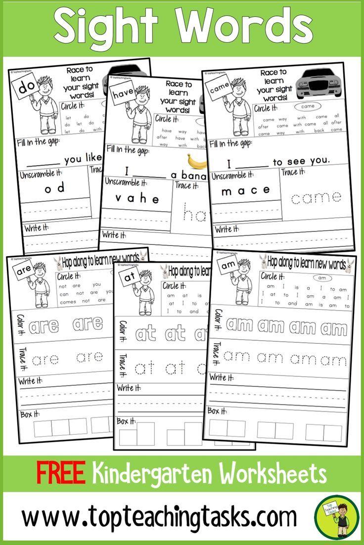 This Freebie Free Sight Word Resource Contains Seven Free Kindergarten Prim Kindergarten Worksheets Sight Words Sight Word Worksheets Sight Words Kindergarten [ 1102 x 736 Pixel ]