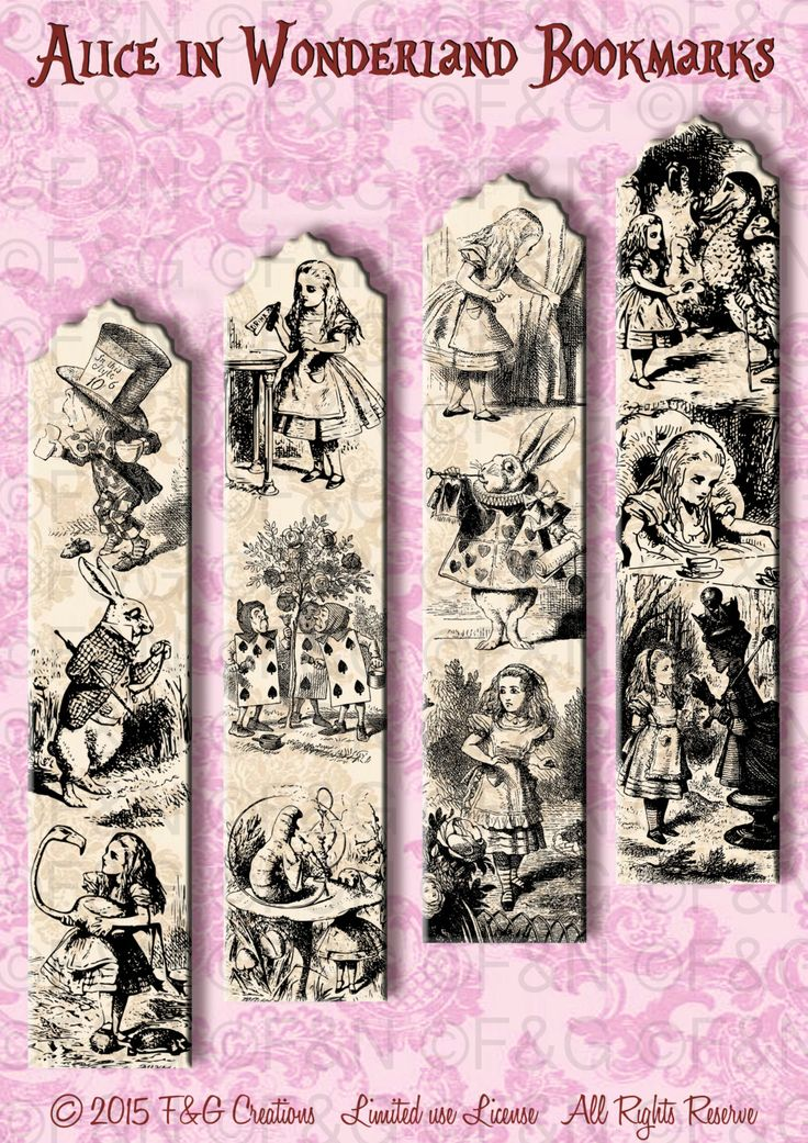 Alice in Wonderland Bookmarks -  24 Bookmarks inspired by Alice ready to print and cut - Pack 2 di TheEmporiumOfWonders su Etsy