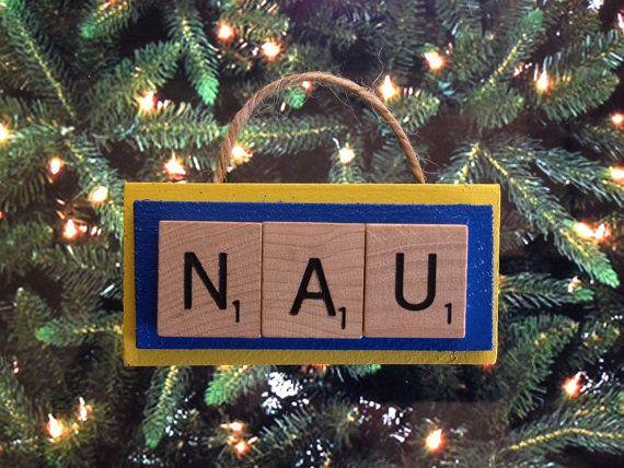 NAU Northern Arizona University Scrabble Tiles Ornament Handmade Holiday Christmas Wood