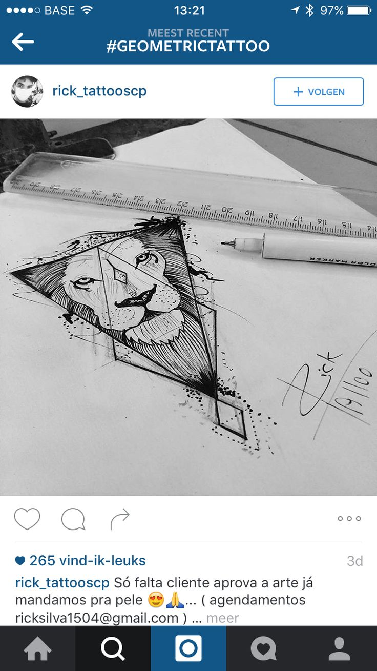 Semi geometric lion tattoo design - - The geometric triangle is what I love. Give or take on the lion