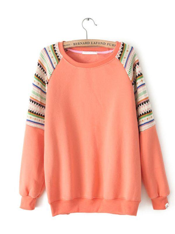 Long Sleeve Print Straight Round Neck Casual Common Sweatshirt