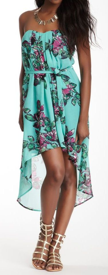 Mint & Lavender Floral Bustier Swallowtail Dress <3