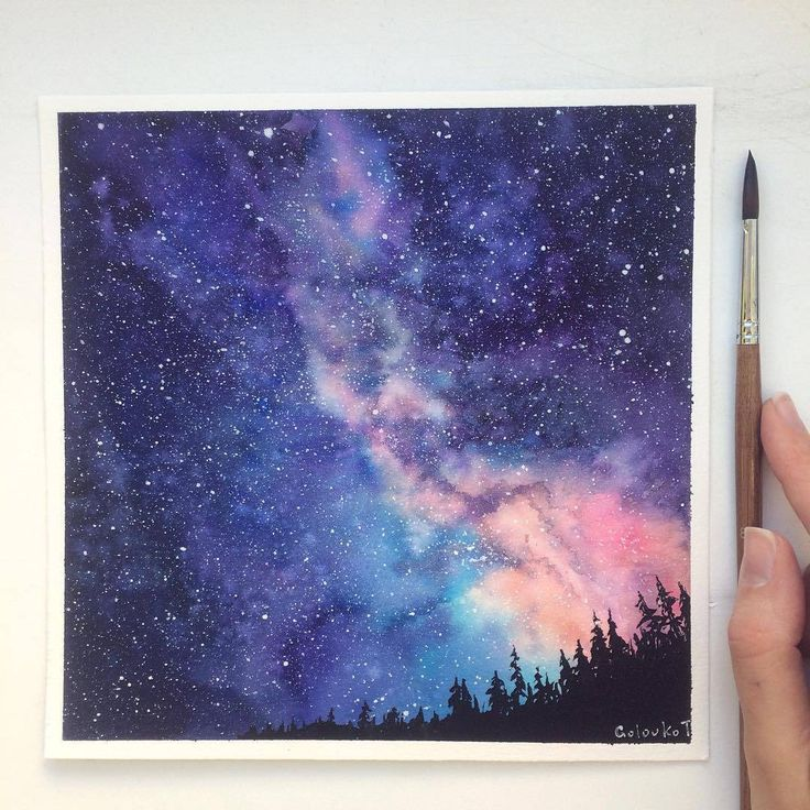 Звездное небо рисунок детей красками