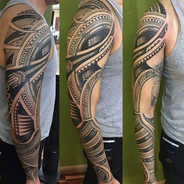 Gentleman With Full Arm Polynesian Tribal Sleeve Tattoo Tribal Sleeve Tattoos Sleeve Tattoos Tattoo Sleeve Designs