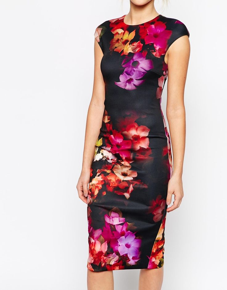 I have this dress and absolutely love it! Image 3 of Ted Baker Midi Dress in Cascading Floral Print