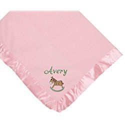 Rocking Horse Pink Soft Fleece Embroidered Personalized Baby Blanket - Custom Embroidery Hot Pink Thread