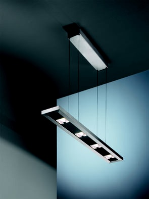 Design hanglamp bestaande uit vier halogeenspots
