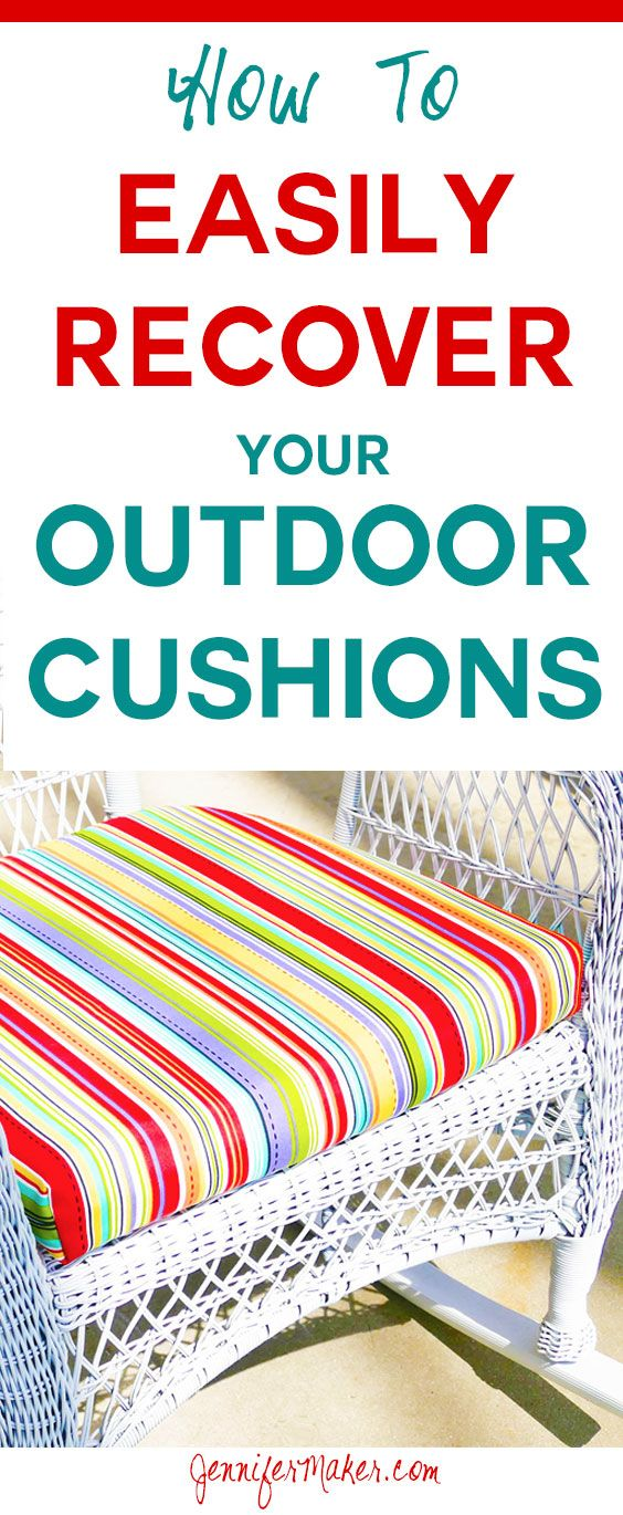 Recover your cushions for outdoor furniture quickly & easily! Sew and no-sew options included. via @jenuinemom