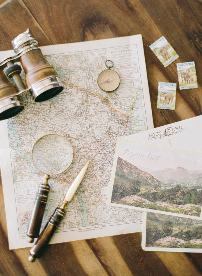 You can't go on a safari without, a map, a magnifying glass, and binoculars: http://www.stylemepretty.com/2016/08/23/africa-honeymoon-travel-destination-packing-list/ Photography: KT Merry - http://ktmerry.com/