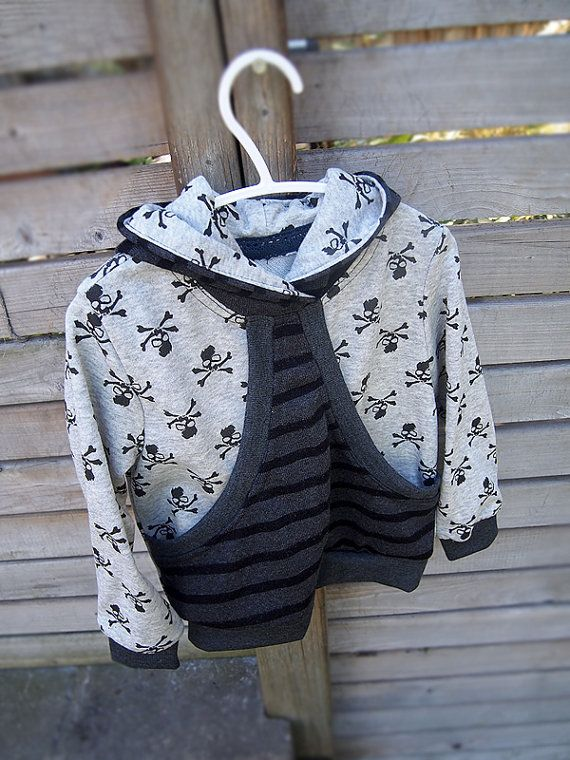 Punky Style  Skull Modern Hoody Sweater in sizes by SunnuBunnu, $25.00