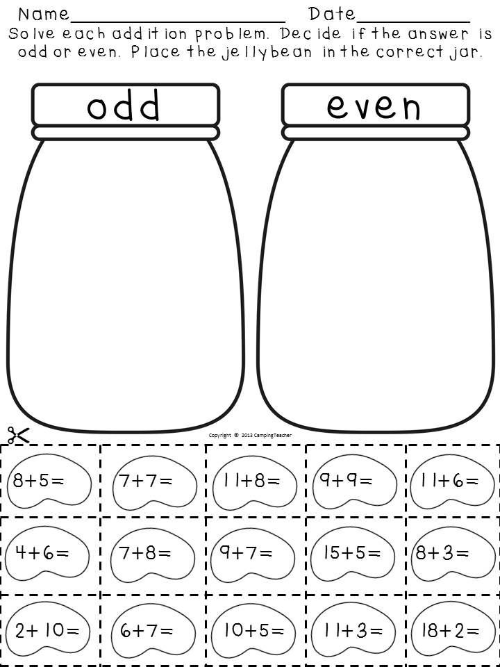 Addition pack-Odd and even answers with jellybeans; I am going to differentiate this with larger addition or subtraction problems with some of my students!