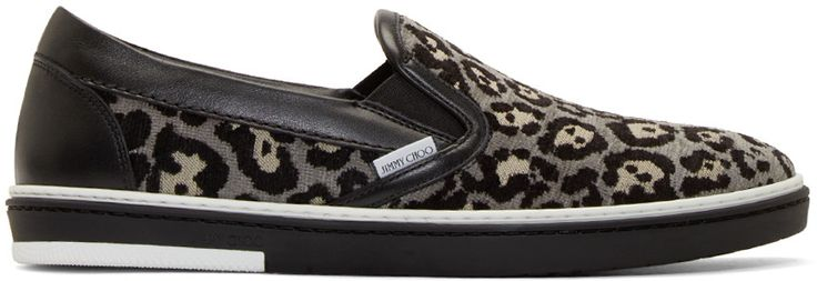 Jimmy Choo - Grey Leopard Grove Slip-On Sneakers