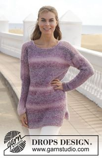 """Berry Bliss - Knitted DROPS jumper in garter st in """"Delight"""" and """"Vivaldi"""" or """"Alpaca Silk"""". Size: S - XXXL. - Free pattern by DROPS Design"""