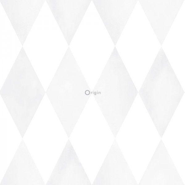 337220 HD vlies behang schuine wieber diamant ruit met schilderachtig effect mat wit en licht warm grijs