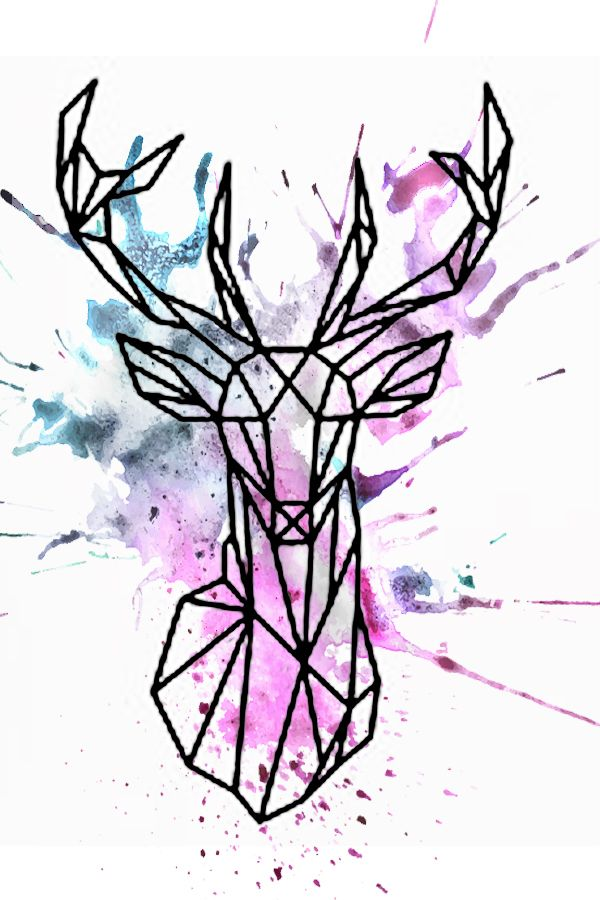 Watercolor geometric deer design                                                                                                                                                                                 More