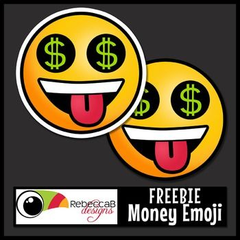 FREE Money Emoji Clip Art. Contains 3 images, with and without sticker edge plus black and white. Images are approx. 3x3 inches in size. Money Emoji Clip Art by RebeccaB Designs.FREE add-on for the following sets:{Emoji Clip Art Sticker Style}{Emoji Clip Art}Copyright 2016 RebeccaB DesignsMy graphic designs are produced at 300ppi(on screen) and in .JPEG or .PNG format unless otherwise stated.