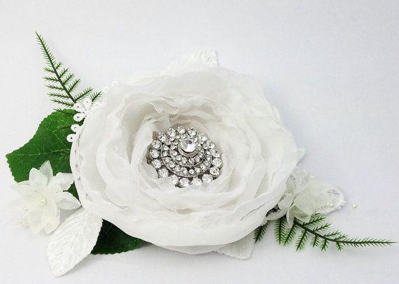Bridal flower headpiece white flower by AnitaHiltonweddings