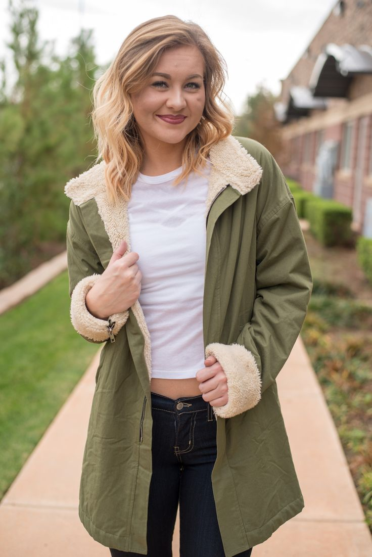 Faux fur lined olive parka style jacket from Lush Fashion Lounge