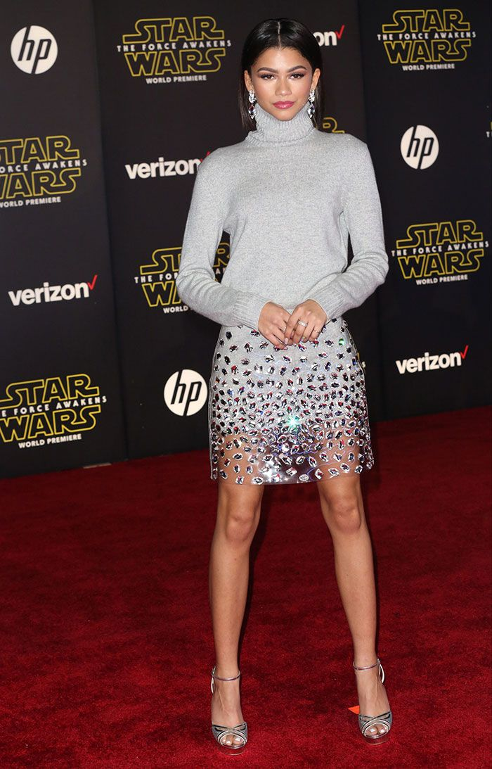 "Zendaya Debuts Sleek Bob at ""Star Wars: The Force Awakens"" Premiere, Wears Michael Kors Outfit and Jimmy Choo 'Laurita' Heels"