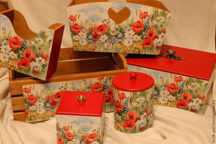 """Купить Короб """"Полевые цветы"""" - ярко-красный, короб, коробочка, Декупаж, кухня, маки, цветы"""