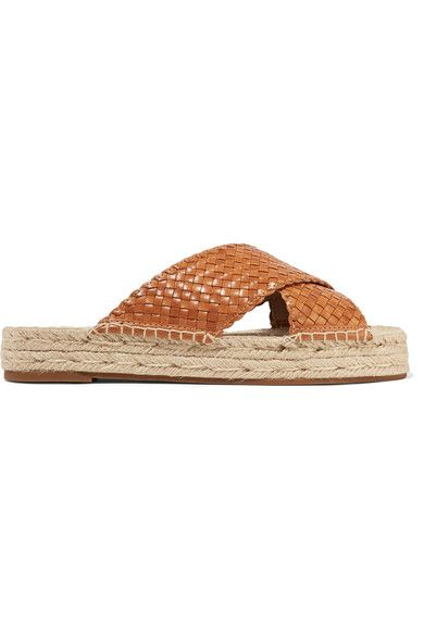 Michael Kors Collection - Destin Woven Leather Slides - Tan - IT38.5