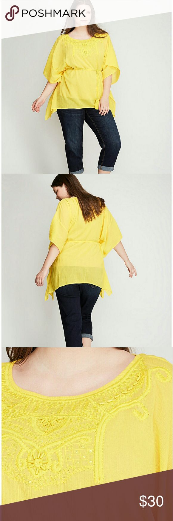 Lane bryant embroidered gauze yellow top 18/20 2x Primrose yellow, has beading, sequence, and embroidery.. rope detail brings some waist defining structure... dolman sleeves Lane Bryant Tops Blouses