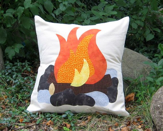 """Campfire Pillow Cover, Fits 20"""" Pillow Form, Great Teepee Accessory!"""