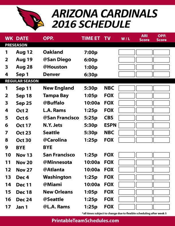 2016-17 Arizona Cardinals Schedule