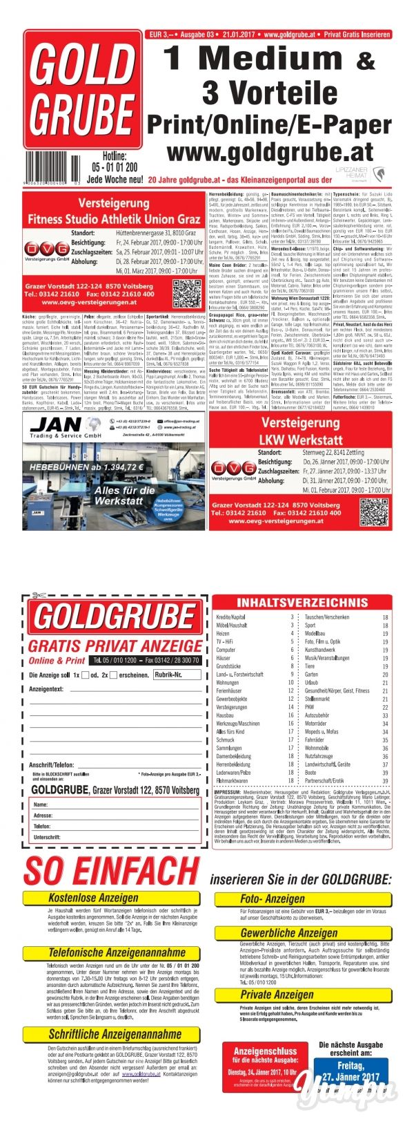 Goldgrube Ausgabe 3/17 - Magazine with 48 pages: Privat Gratis Inserieren auf www.goldgrube.at