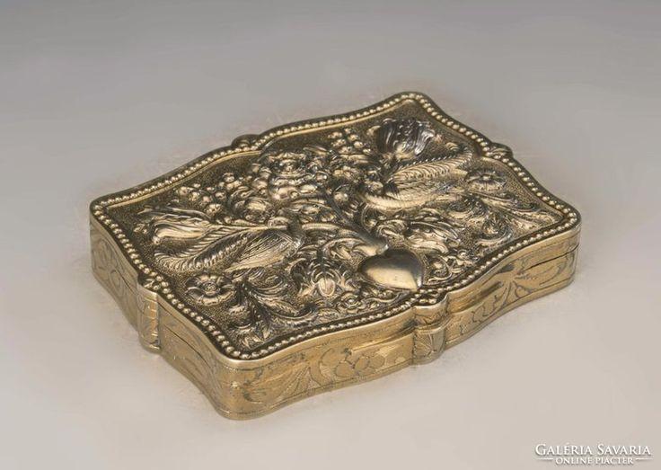 Ezüst magyar szecessziós aranyozott doboz