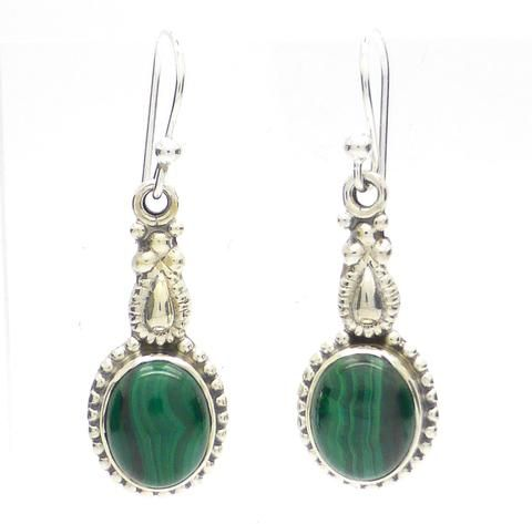 Malachite  | Gemstone Cabochon Earrings | Sterling Silver | Ethnic Detail | Australian Melbourne Supplier | weight 4.7 gm drop 35 mm