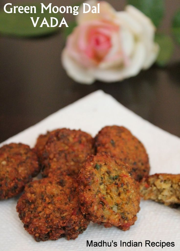 Green Moong Dal VADA |    Green Moong dal- 1 cup Chana dal- one handful Yellow moong dal- one handful Green chilly- 3 to 5 Ginger - 1/2 inch piece Red onion- 1/4 th chopped Cumin seed- 1/4 th tsp Small Red or green bell pepper- 1 chopped Dry or fresh coconut- 2 tbsps Finely chopped coriander leaves- 1 tbsp Salt to taste and Oil for deep frying