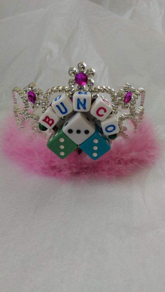 FLASHING Bunco tiara for queen of the game of dice winner's prize Bunco crown with feathers and bejewelled