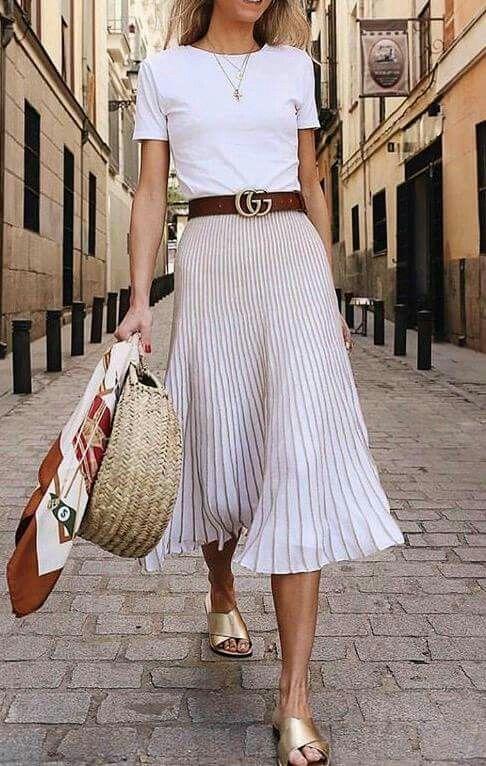 T-shirt, pleated skirt, slides, woven bag