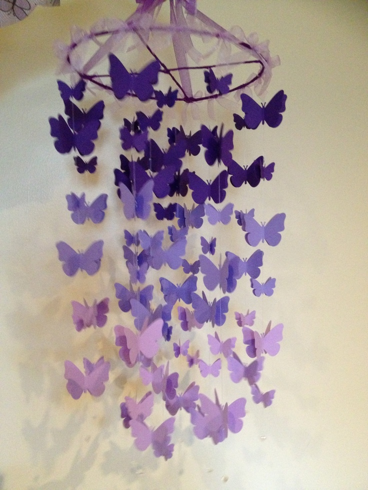 Nursery Decoration Mobile 3D Butterflies, Baby Girl Room Mobile In Purple