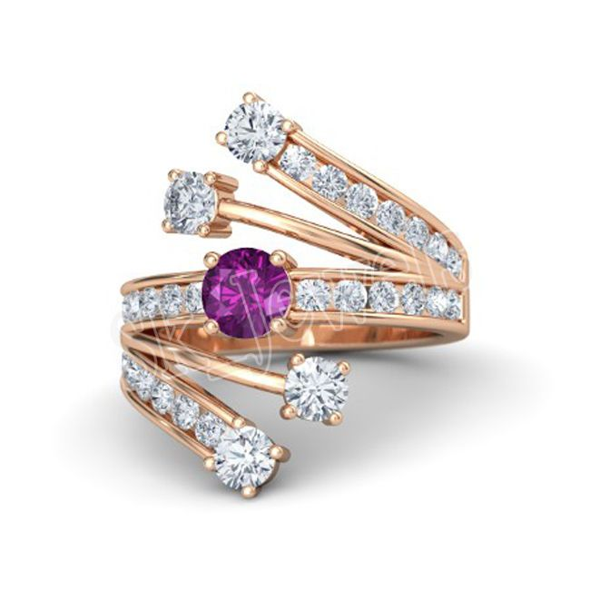 0.90ct NATURAL DIAMOND AMETHYST  14k ROSE  GOLD ENGAGEMENT RING  #sk_jewels #Cocktail #Engagement