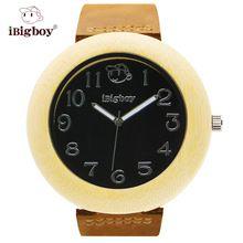 iBigboy Men Wooden Watch Bamboo Case Black Big Round Watch Dial Japan Quartz Leather Strap Wristwatches Wood Watch For Men Hot(China (Mainland))