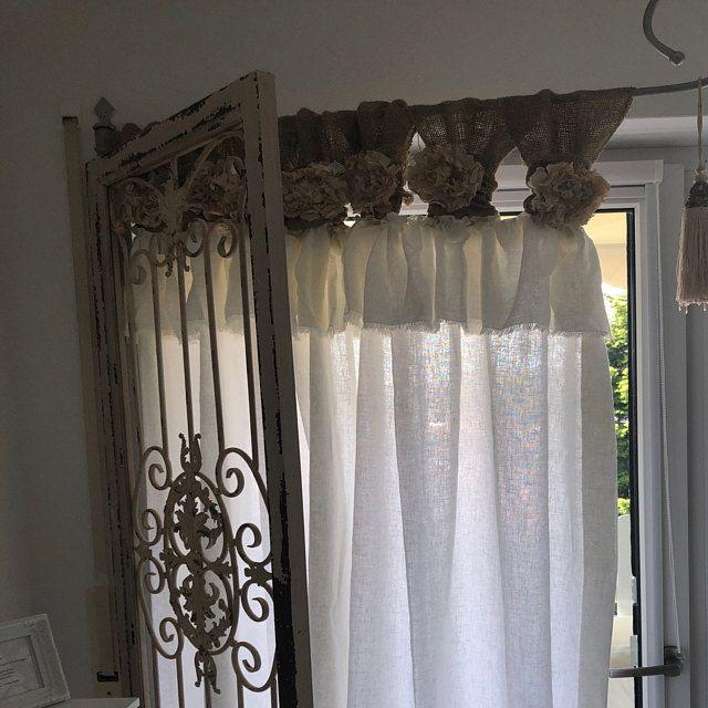 Burlap Curtain Off White Burlap Wide Ruched Tabs In 2020 Burlap Curtains Ruffle Curtains Curtains